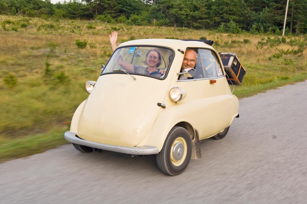 Trip in small vintage car